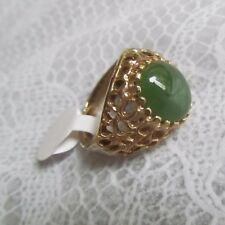 gemstones and 00004000  vermeil w filigree design Fashion Dinner Ring of Nephrite Jade