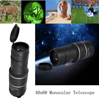 40 x 60 HD Monocular Telescope Focus Outdoor Night Vision Hunting Camping Hiking