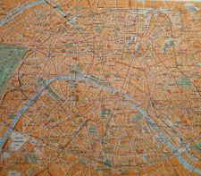 Map Of Paris France City Vintage 1950 Dutch Language