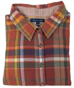 Tommy Hilfiger Orange Check Long Sleeve Button Up Shirt Size 6 Regular Fit 100%