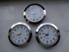 """3-PAK 1-7/16""""(37MM) Hi-Qual QUARTZ CLOCK Insert, Silver Bezel, Metal Case,Arabic"""
