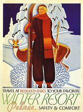 Impresión de viajes servicio de trenes de vacaciones de invierno Resort Nieve Ciervo Ski Usa nofl1394