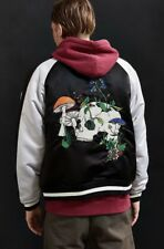 NEW Urban Outfitters black Unisex Satin Embroidery Skull Zip Coat Jacket Mens M