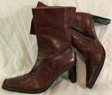 Bertie Maroon Mid Calf Leather Lovely Boots Size 39 (984vv)