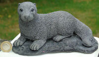 Small Otter Stone Garden Ornament Hand Cast by Bekki 17x12x10 cms  818 grams
