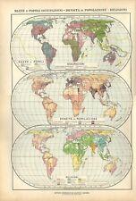 Carta geografica antica MAPPAMONDO RAZZE RELIGIONI De Agostini 1927 Old map