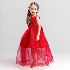 2018 Childrens Girl Fancy Red  Flower Party Wedding Bridesmaid Dress Gown O102