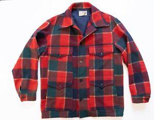 Vintage Lobo by Pendleton Jacket Men's Large Wool Red Flannel Coat Pockets VTG