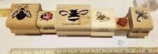 Used Rubber Stamps - Ladybugs, Bees, Dragonflies 6 Stamp Lot