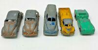 "Lot of 5 Vintage 1960's TOOTSIETOY 3"" Volkswagen Beetle, Triumph, Trucks 191897C"