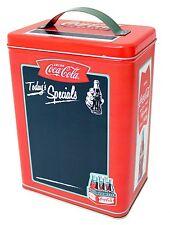 "COCA-COLA Vintage-Style Storage Tin w/ Chalkboard Surface, 8.5"" Tall, Tin Box Co"