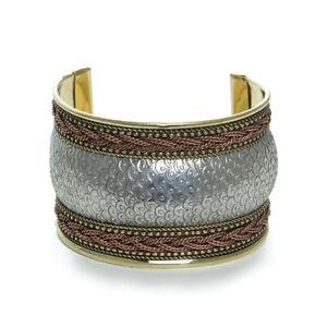 Silver/Brass/Copper 3-Tone Cuff | African Fashion Jewelry Cuff (Silver)