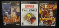 Cabela's Big Hunter Outdoor Rapala Fishing PS2 PlayStation 2 3 Game Lot Works