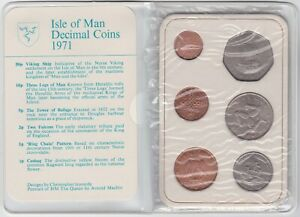 1971 ISLE OF MAN SIX COIN DECIMAL SET IN NEAR MINT CONDITION