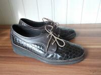 Chaussures basse derby mocassin à lacets cuir marron ecailles SIOUX 4.5 H 37.5