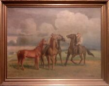 HORSE WHISPERER. Large, fine oil painting
