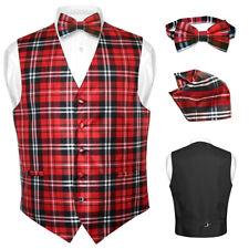 Men's Plaid Design Dress Vest BOWTie Black RED White BOW Tie Hanky Set M