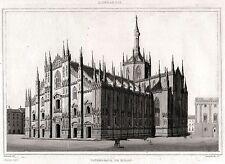 MILANO: IL DUOMO. Lombardia. Regno Lombardo-Veneto. ACCIAIO. Stampa Antica. 1838