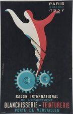 """""""SALON BLANCHISSERIE - TEINTURERIE 1957"""" Affiche originale entoilée 43x63cm"""