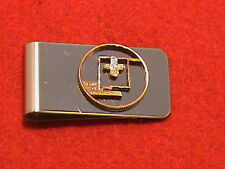 Hand cut New Mexico quarter 24 kt gold plated mounted as a money clip