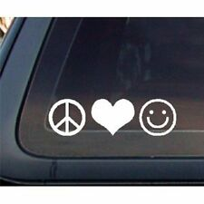 Peace Love Happiness Car Decal / Sticker - White
