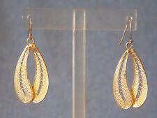 BRUSHED GOLD TONE DANGLE FASHION/RETRO HOOK PIERCED EARRINGS