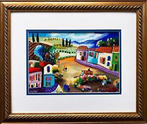 "Shlomo Alter ""Lazy Evenings"" Hand Signed & # Serigraph Framed Primitive Art NEW"