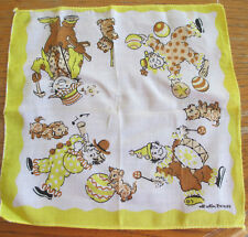 Vintage Children's Hankie Clowns On Parage Puppies Brown Yellow White Black