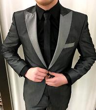 Gris Oscuro Plata Traje Diseñador Party Chaqueta Entallado Slimfit Camisa