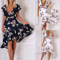 Womens Chiffon Maxi Boho Floral Summer Beach Long Skirt Cocktail Party Dress