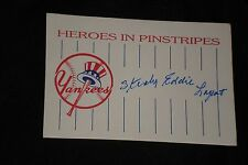 ED LOPAT SIGNED AUTOGRAPHED LARGE CUSTOM INDEX CARD 1948 YANKEES (d.1992)