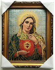 Catholic Our Lady Of Vintage Mary Heart Religious Wall Textile Cloth Statue 11""
