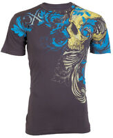 XTREME COUTURE by AFFLICTION Mens T-Shirt TELEPHUS Skull CHARCOAL Biker $40