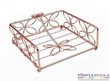 NEW COPPER FLORAL NAPKIN HOLDER Serviette Basket Tray Vintage Retro Metal Table