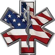 "Star of Life EMT EMS MFR Decal American Flag 6"" REFLECTIVE EMS02"
