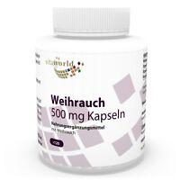 Vita World Boswellia Weihrauch 500mg 120 Kapseln 65 % Weihrauch Made in Germany