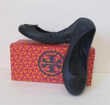 Tory Burch Carita Bright navy blue ballet flat logo 9 leather elastic