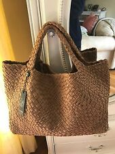 FALOR Firenze Woven Intrecciato CAMEL Leather X Large Tote Handbag Pouch NWT
