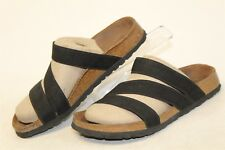 Birkenstock Womens 9 40 Black Elastic Straps Footbed Sandals Slides Shoes wp