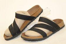 Birki's Womens 8 39 Black Elastic Straps Footbed Sandals Slides Shoes cm