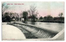 1910 Cement Dam, Three Rivers, MI Postcard *258