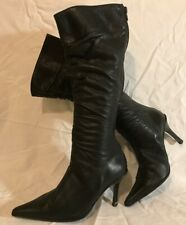 Next Black Knee High Leather Boots Size 4 (401Q)