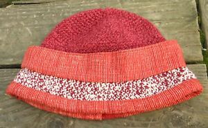 Adorable Red Mix Crocheted Baby Size Cloche - Handmade by Michaela