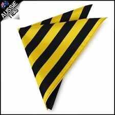 Mens Yellow & Black Striped Pocket Square Handkerchief Hanky