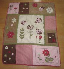 Geenny Baby Kids Girls Pink Brown Ladybug Flowers Blanket Quilt