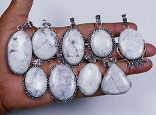 10pc Wholesale Lot White Howlite 925 Sterling Silver Pendants Mix Shape Size