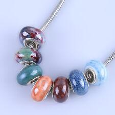100pcs Wholesale Jewelry Multicolor Round Ceramic Porcelain Europ Charms Bead D
