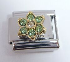 LIGHT GREEN FLOWER GEM Italian Charm August Birthstone fits Classic Bracelets