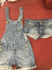 American Eagle AE Women's Lot Of 2 Denim Overall Shorts Sz 0