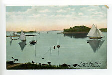 Cape Cod Onset Bay Wareham MA Mass The Three Islands, sailboats, early